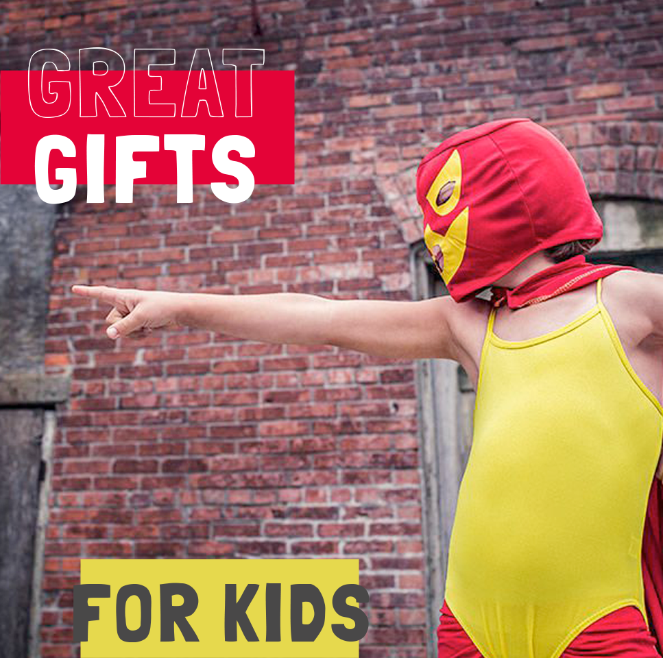 Boy dressed as a wrestler advises great gifts for kids